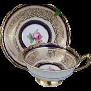 Paragon DW Cobalt Blue Pink Rose and Gold Cabinet Teacup and Saucer A1033