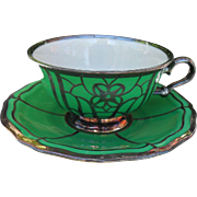 Vintage Rosenthal Chippendale Bahnhof Selb Silver Overlay Green Demitasse Cup and Saucer