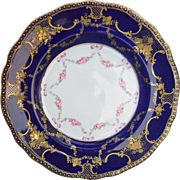 Classic Bishop and Stonier England Cobalt Blue Gold Encrusted Pink Sweetheart Rose Plate