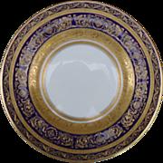 Elegant Royal Doulton for Ovington Bros Cobalt Blue with Gold Encrusted Gilt Plate