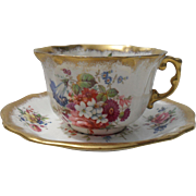 Gorgeous Hammersley Lady Patricia Chintz Gold/Gilt Teacup/Saucer Signed F.Howard