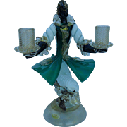 Seguso Murano Italian Venetian Glass Two Light Candlestick Gold Blackamoor