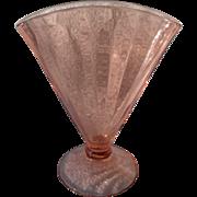 Pink Depression Glass Optic Pattern Fan Vase