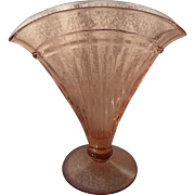Pink Depression Glass Pleated Pattern Fan Vase