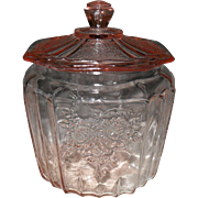 Anchor Hocking Pink Depression Glass Mayfair Open Rose Cookie Jar and Lid