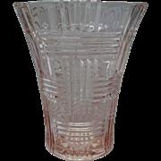 Vintage Hazel Atlas Basketweave Pattern Pink Depression Vase