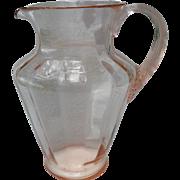Large Vintage Pink Depression Glass Optic Lemonade Pitcher
