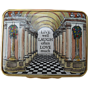 Halcyon Days Enamel Live Well Laugh Often Pill Box