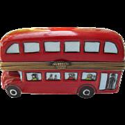 Peint Main Limoges Eximious French Porcelain London Double Decker Bus Pill Box GR