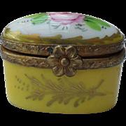 Vintage Limoges Pink Rose Yellow Enamel Pill Box Ormolu