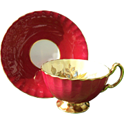 Aynsley Footed Pink Rose Floral Gold/Gilt Teacup and Saucer Signed JA Bailey