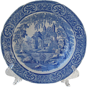 Early Davenport Fisherman Series Gothic Pearlware Rimmed Soup Bowl Plate 1812