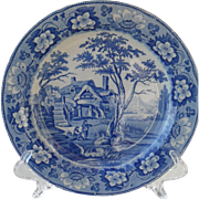 Early Davenport Rustic Scenery Pearlware Rimmed Soup Bowl Plate 1810