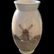 "Vintage Bing & Grondahl B & G Denmark Windmill Vase 8682 7 1/2"""