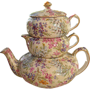 "Vintage Lord Nelson England ""Heather"" Chintz Stackable Teacup Creamer Teapot 2750"