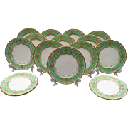Royal Doulton Set of 16 Gold Encrusted Spring Green Dinner Plates V2345