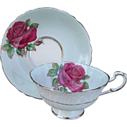 Paragon DW Quatrefoil Queen Mary Pink Cabbage Rose Cabinet Teacup and Saucer