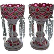 Pair Pretty of Bohemian Cranberry Overlay Mantle Lusters
