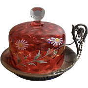 Important Antique HP Cranberry Coin Cheese/Butter Dish