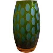 Modernist Moser Olive Cut Two Tone Glass Vase