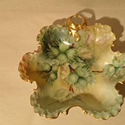 Sweet RC Mombijou Rosenthal Green HP Floral Gilt Candy Dish