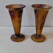 Vintage 1930s Art Deco Brown Cloud Glass Vase Davidson