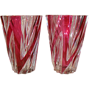 Pair of Crystal Ruby Clear Val St Lambert Mantle Vases