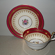 Elegant Aynsley Burgundy Gold Floral Teacup and Saucer