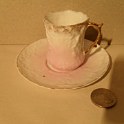 Early Miniature Molded Pink Teacup/Saucer Gold Germany
