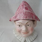Antique Figural Austrian Jester Tobacco Jar Humidor