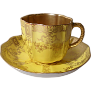 Antique Royal Crown Derby Gold Bows Teacup/Saucer