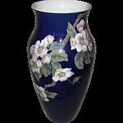Tall Vintage Royal Copenhagen Cobalt Apple Blossom Vase