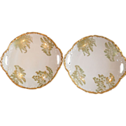 Antique T & V Limoges Gold Pair Sea Fern Plates