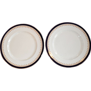 Aynsley Leighton Cobalt & Gold Smooth Dinner Plates (2)