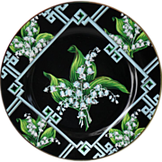 Andrea Sadek Lily of the Valley Black Dinner Plates (12)