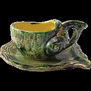 Figural Vintage Majolica Shell Form Teacup and Saucer