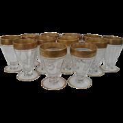 Vintage Gold Encrusted Tiffin Optic Juice Amuse Bouches Vodka Glasses (12)