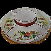 Mid-Century Italy Faience 7pc Strawberry Festival Dish