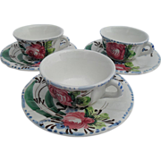 Italy Faience Set 3 Demitasses Multifloral Cups/Saucers
