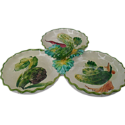 Vintage Italy Faience 3 Part Colorful Vegetable Dish