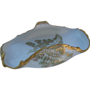 T&V Limoges France Gold Sea Fern Dessert Dish