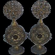 Vintage Gold Ormolu Gresco Perfume Bottles with Roses Daubers (2)
