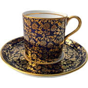 Aynsley Gold Cobalt Blue Demitasse Cup and Saucer