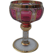 Moser Cranberry Ruby Gold Port Wine Glass