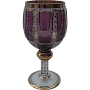 Heavy Moser Bohemian Amethyst Wine Glass