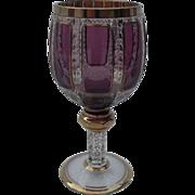 Heavy Moser Bohemian Amethyst Wine Glass