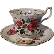 Royal Albert Poppy August England Teacup and Saucer