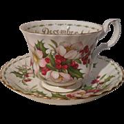 Royal Albert December Christmas Rose Teacup/Saucer