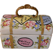 Vintage French Porcelain Travel Trunk Trinket Box
