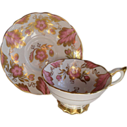 Commanding Royal Stafford Pink Gold Teacup/Saucer